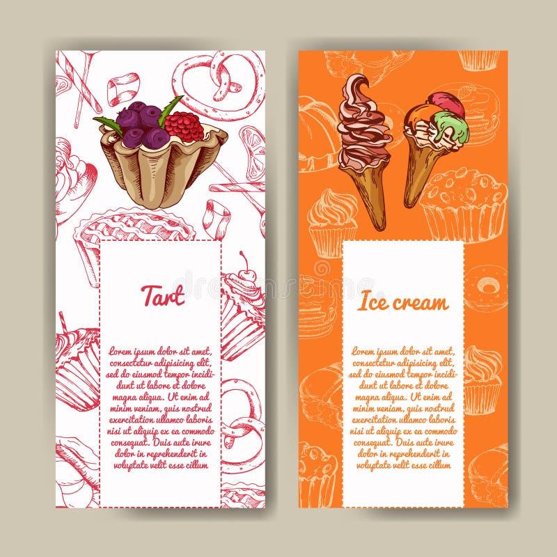 Vektoraffisch med hand-drog efterrätter läcker mat dekorativ bakgrund Härligt kort stock illustrationer