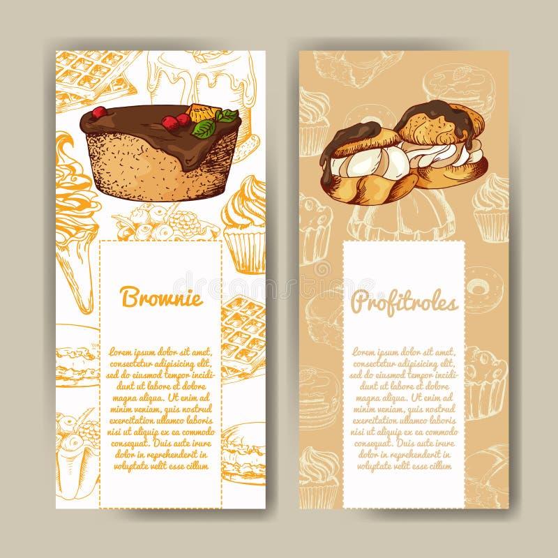 Vektoraffisch med hand-drog efterrätter läcker mat dekorativ bakgrund Härligt kort vektor illustrationer