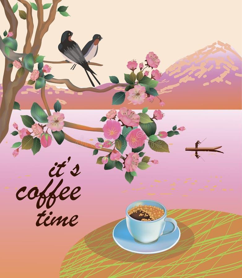 Vektoraffisch med våren Allt vaknar upp, blommar den sakura blomningen Typografikort, bild med bokstäver Det kaffetid för ` s vektor illustrationer