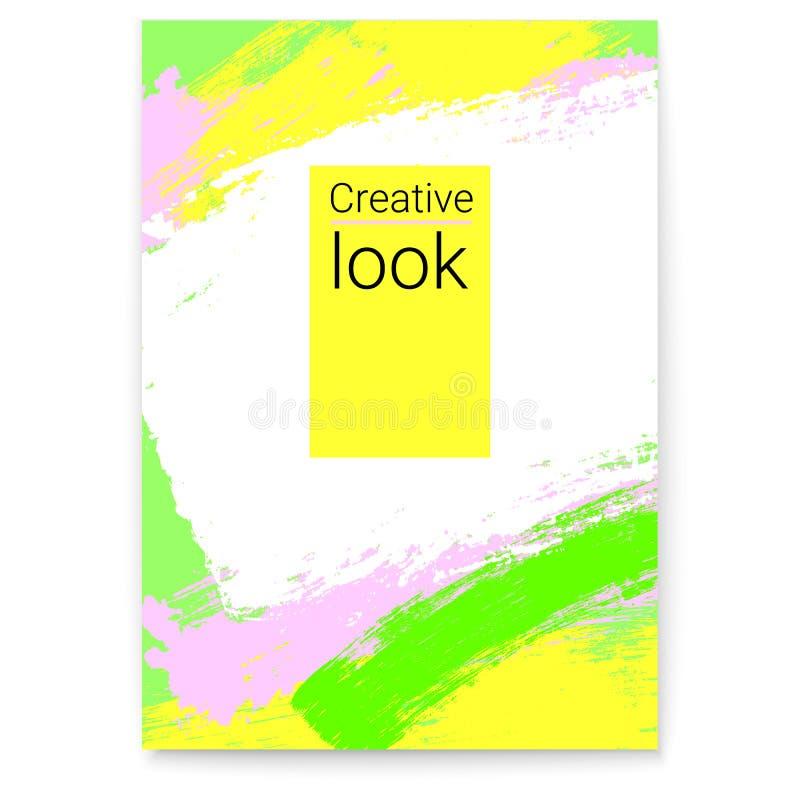 Vektoraffisch, ram för text i hipsterstil Livlig modern konst Stilfull geometrisk bakgrund med den mång- kulöra borsten stock illustrationer