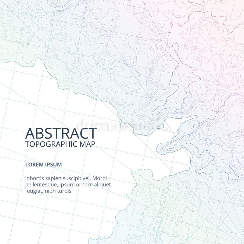 Vektoraffischdesignen från linjer drar upp konturerna av den topographic översikten Abstrakta kullar och olika navigeringbestånds royaltyfri illustrationer