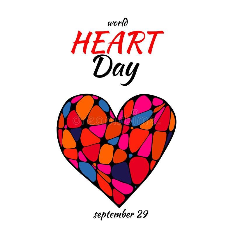 Vektoraffischen av abstrakt stiliserad kulör hjärta i zenkonst, klottrar stil med dagen för textvärldshjärta, 29th september stock illustrationer