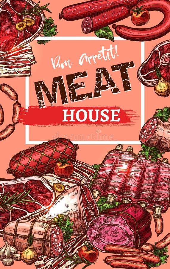 Vektoraffischen för slakt för kötthus skissar royaltyfri illustrationer