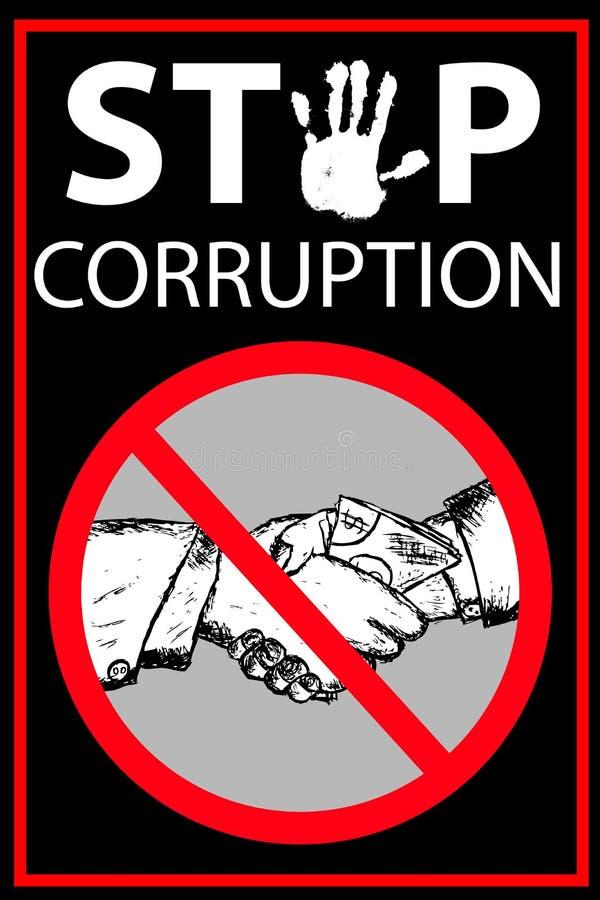 Vektoraffischen stoppar korruption stock illustrationer
