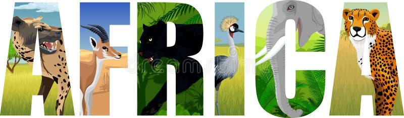 VektorAfrika illustration med elefanten, prickig hyena som krönas kran, gasell, gepard och svart panter vektor illustrationer