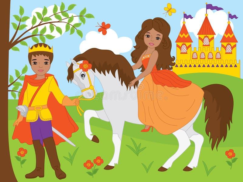 Vektorafrikansk amerikanprins och härlig prinsessa vektor illustrationer