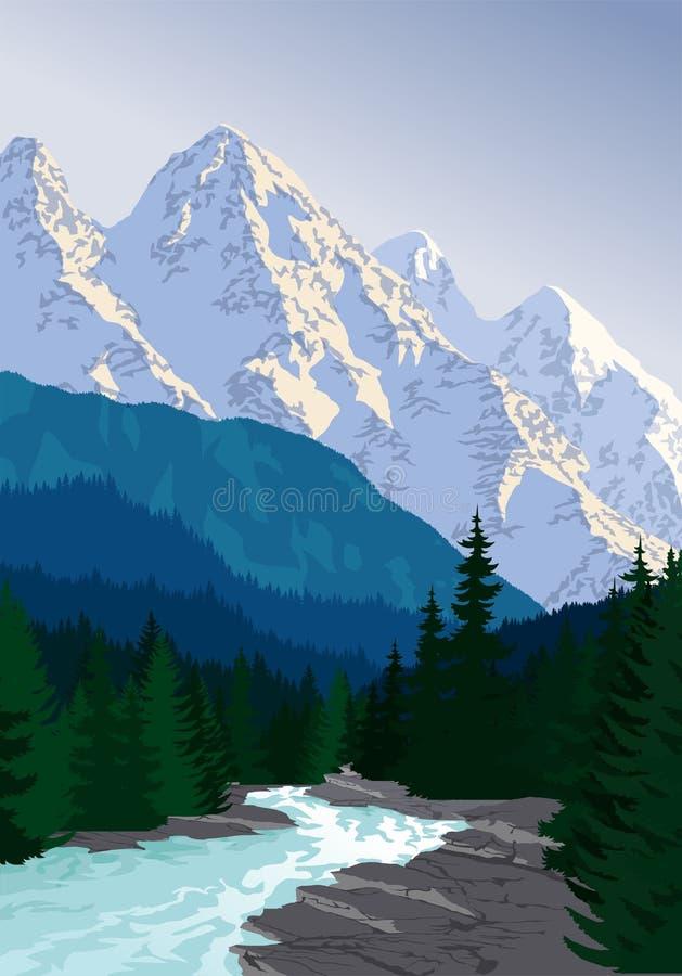 Vektorafton i den härliga bergskogfloden vektor illustrationer