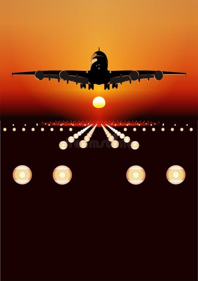 Vektorairbus-Landung am Sonnenuntergang stock abbildung