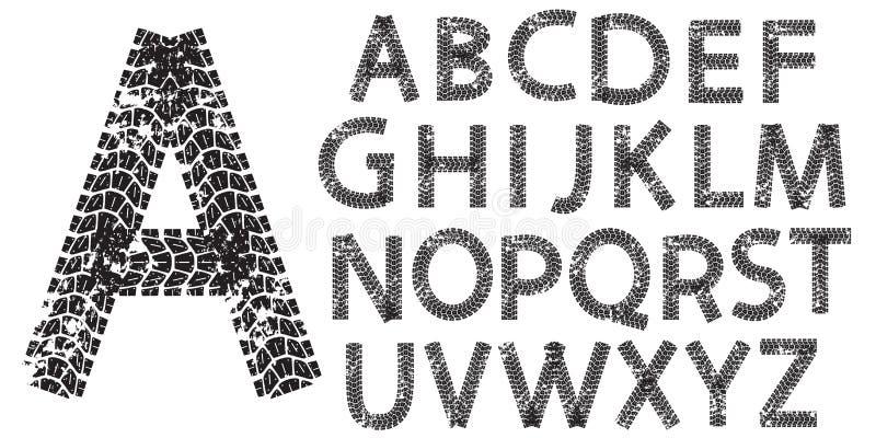 Vektoralfabetbokstäver som göras från motorcykeln, tröttar spår royaltyfri illustrationer
