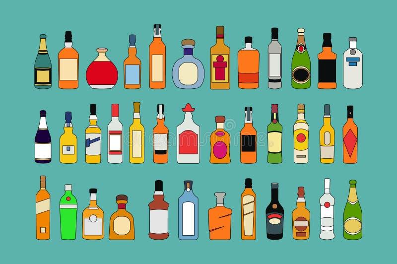 Vektoralkoholflaskor fodrar symbolsuppsättningen Plan vektor f?r illustration f?r samling f?r designalkoholflaskor vektor illustrationer