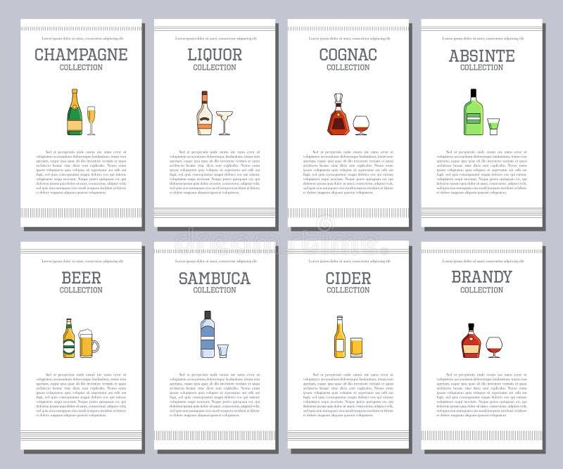 Vektoralkoholliste mit Ikonen für Barkarte Wodkaweinwhisky Tequilawermutgin-Rumhafen Broschürencaférestaurant stock abbildung
