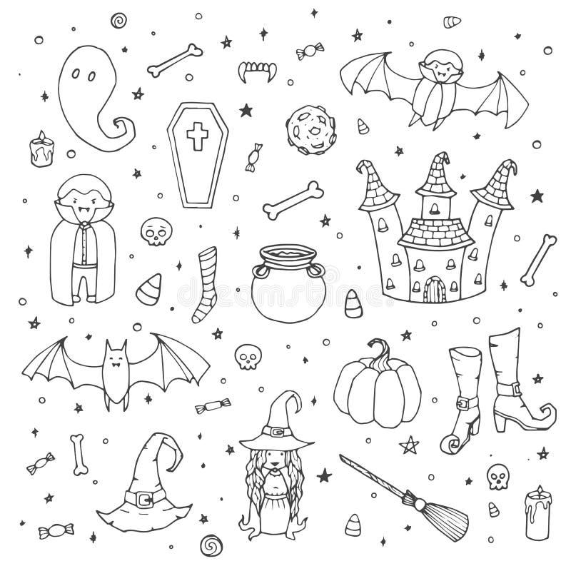 Vektorallhelgonaaftonuppsättning med pumpor, spökar, vampyr, häxa, hatt, kvast, kittel, hus, slagträn, ben, skallar, översikt för stock illustrationer
