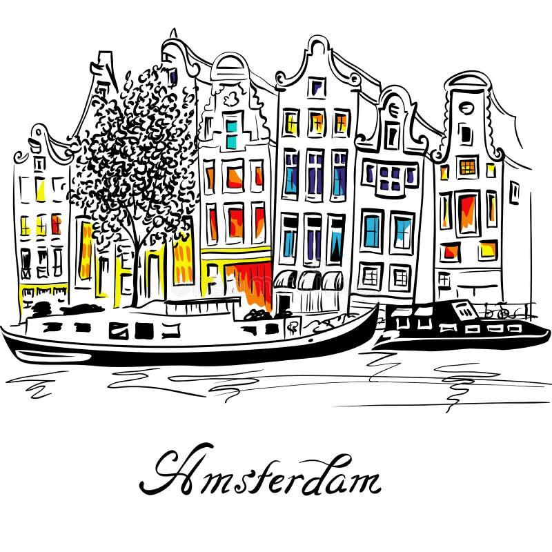 VektorAmsterdam kanal och typiska holländska hus royaltyfri illustrationer