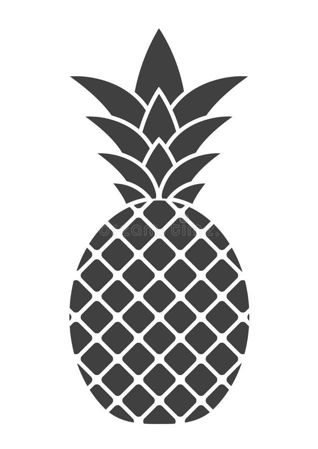 Vektorananassymbol på vit bakgrund vektor illustrationer