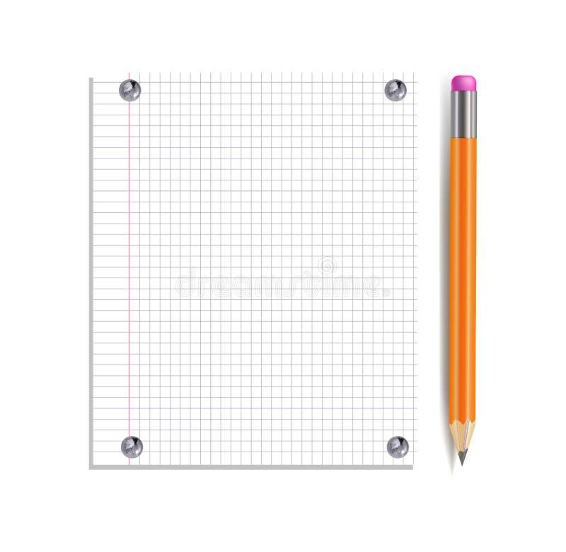 Vektoranteckningsboksida som klämmas fast av den isolerade silverknappar och realistiska blyertspennan vektor illustrationer