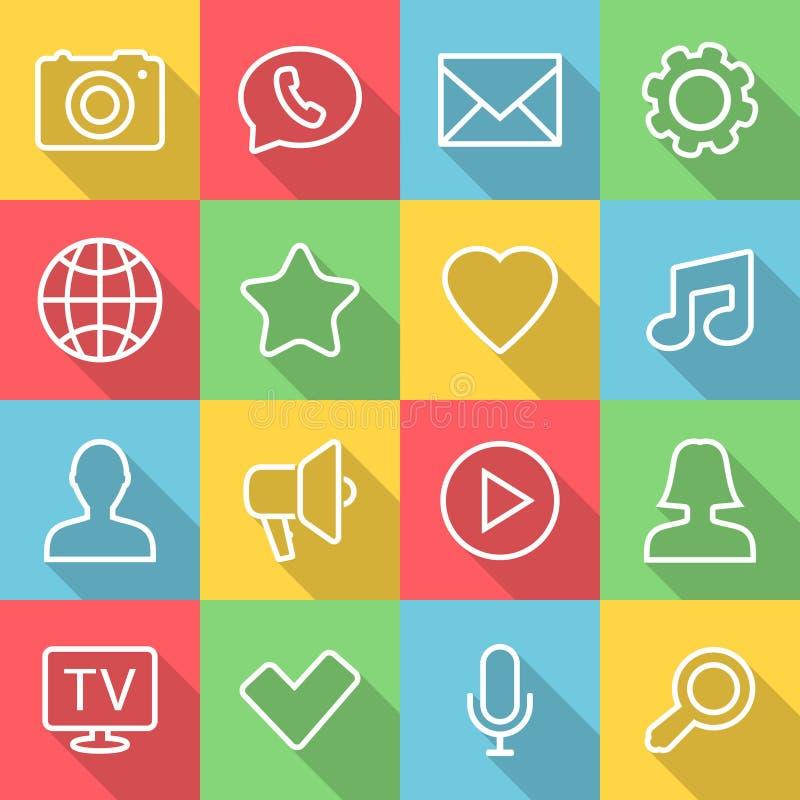 Vektoranwendung Kommunikations-Ikonen stellten in flache Art mit langen Schatten ein lizenzfreie abbildung