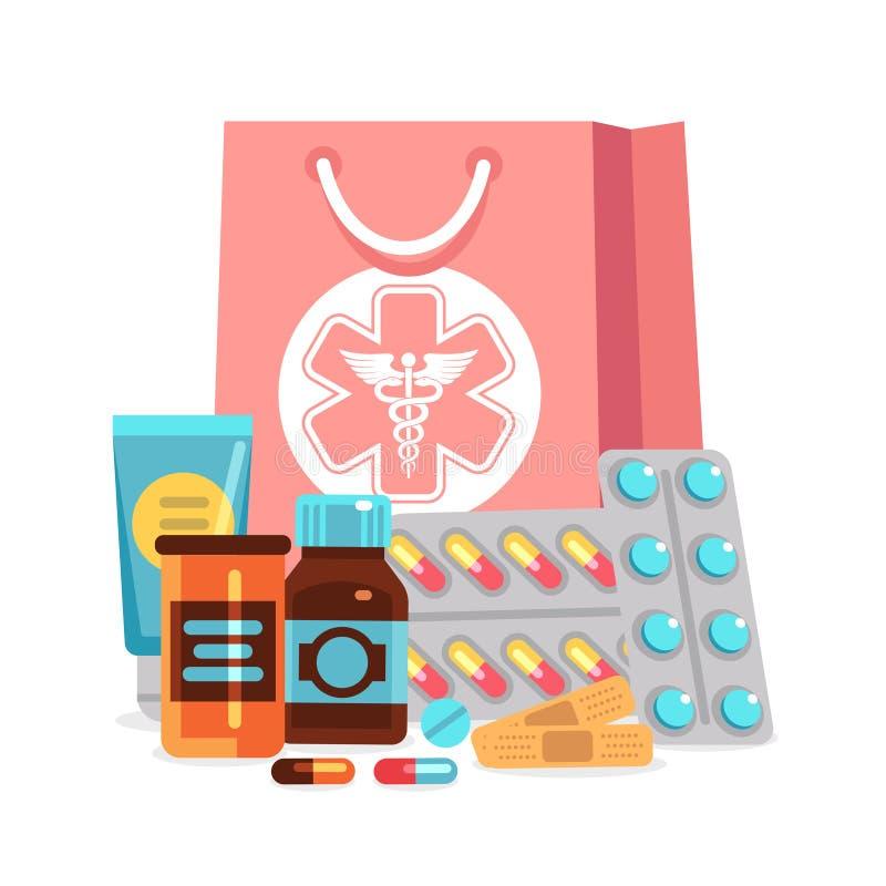 Vektorapotekbeståndsdelar, piller, vitaminer, flaskor med den medicinska påseillustrationen vektor illustrationer
