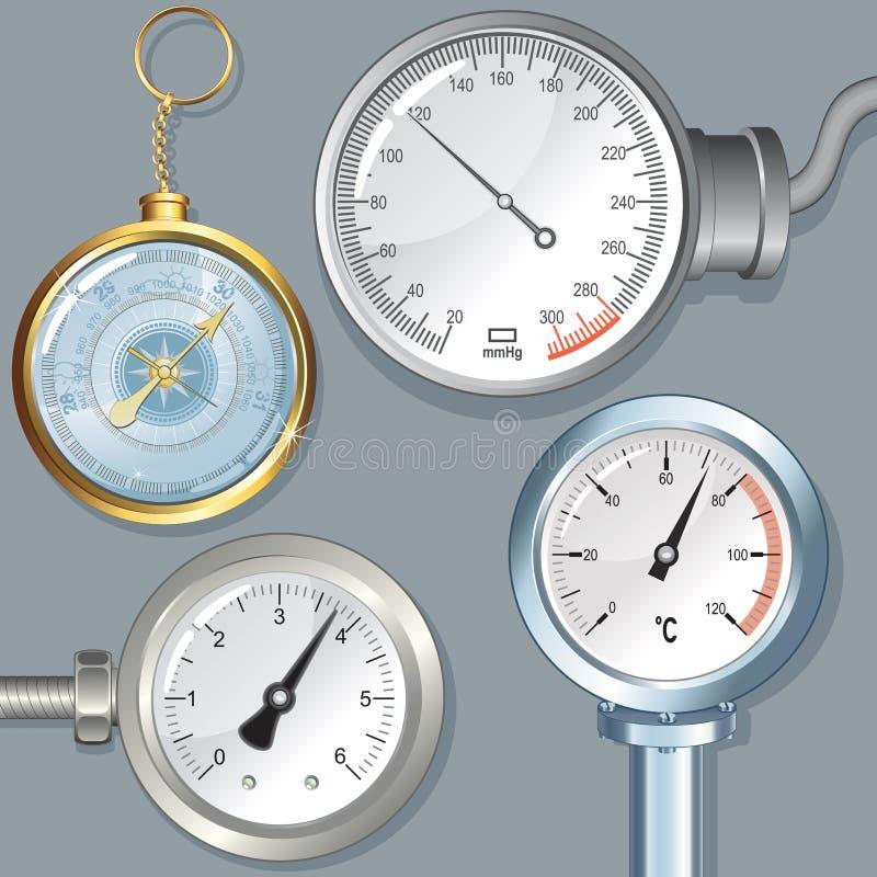 Vektorapparater Barometermanometertryckmätare vektor illustrationer