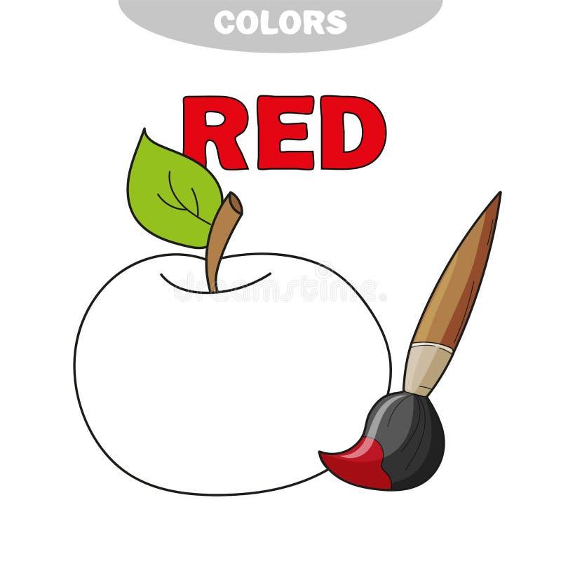 VektorApple frukt på vit bakgrund Lär den röda färgen vektor illustrationer