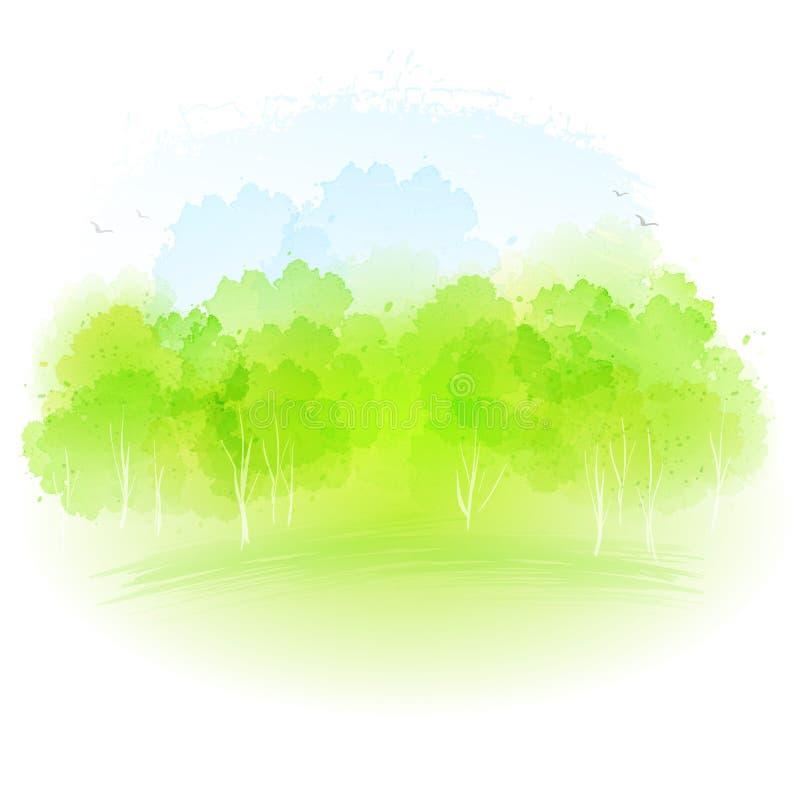 Vektoraquarell-Frühlingslandschaft vektor abbildung