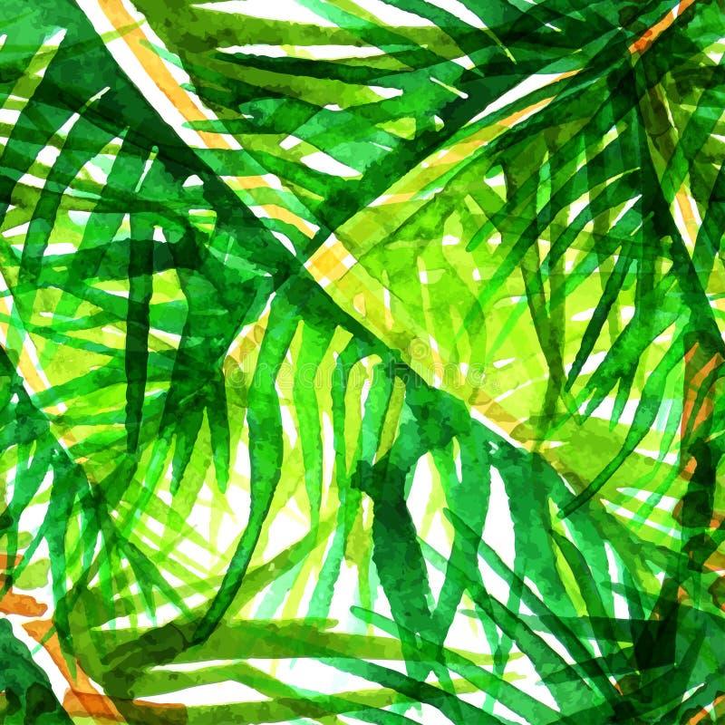 Vektoraquarell-Palme-Blatthintergrund stock abbildung