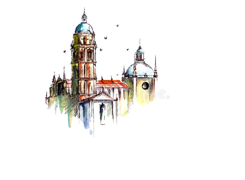Vektoraquarell-Stadtbildillustration, lizenzfreie abbildung