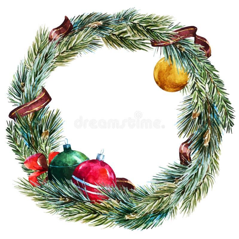 Vektoraquarell-Weihnachtskranz lizenzfreie abbildung