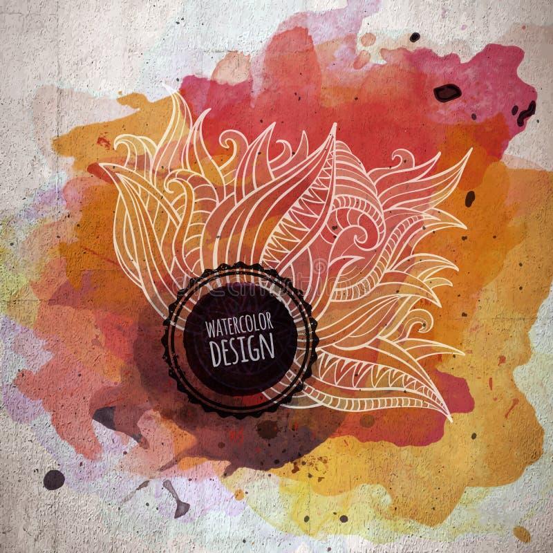 Vektoraquarellfarben-Zusammenfassungsblumenmuster lizenzfreie abbildung