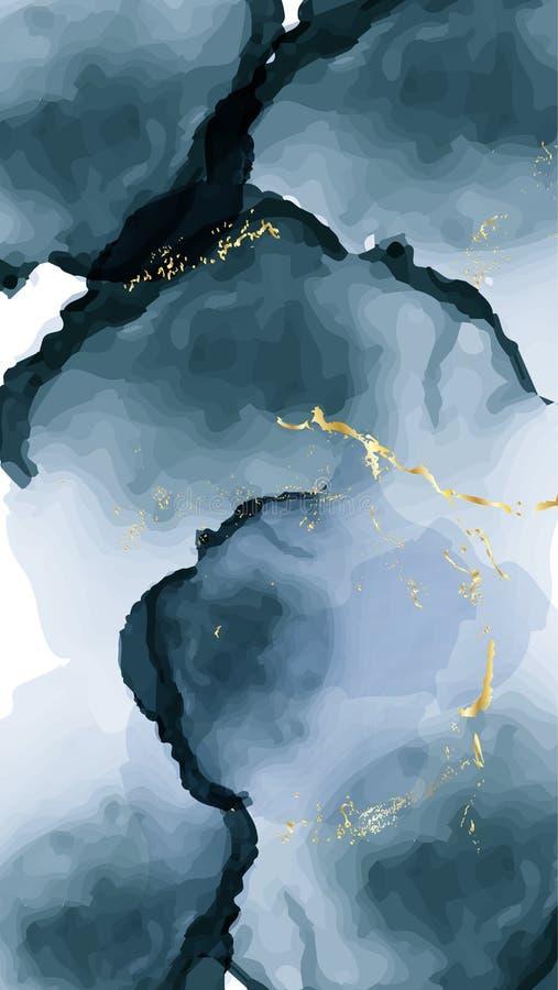 Vektoraquarellwiederholungs-Fl?ssigkeitsflu? in Marineblaufarben mit Goldfunkeln Vektorkontrastalkoholtinten-Schmutzzusammenfassu vektor abbildung