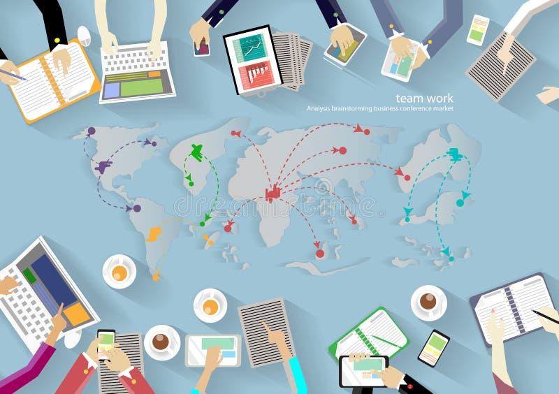 Vektorarbeitsplatz für Geschäftstreffen und Brainstorming Traditionelle Konzepte und Netzfahnen, Printmedien und bewegliche Techn lizenzfreie abbildung
