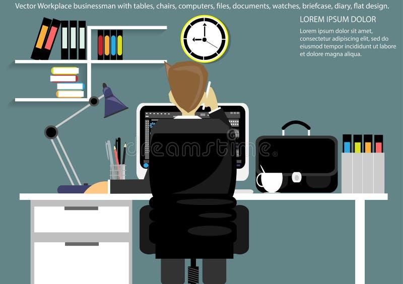 Vektorarbetsplatsen för affärsportföljen, tabeller, stolar, datorer, klockor, skriver, blyertspennor, mappar, dokument, lampor, k vektor illustrationer