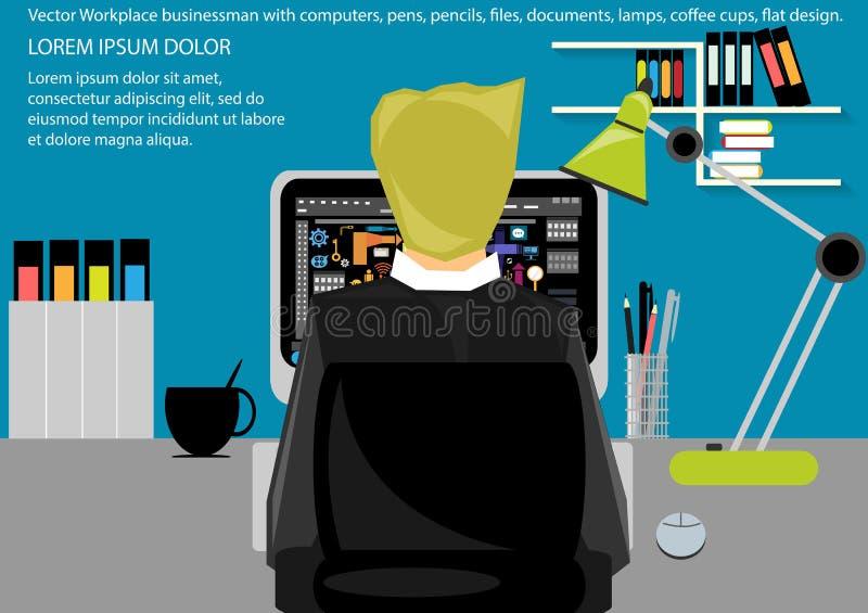 Vektorarbetsplatsen för affärsportföljen, tabeller, stolar, datorer, klockor, skriver, blyertspennor, mappar, dokument, lampor, k stock illustrationer