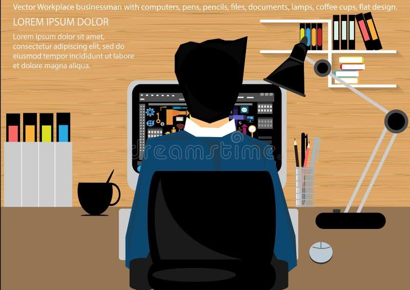 Vektorarbetsplatsen för affärsportföljen, tabeller, stolar, datorer, klockor, skriver, blyertspennor, mappar, dokument, lampor, k royaltyfri illustrationer