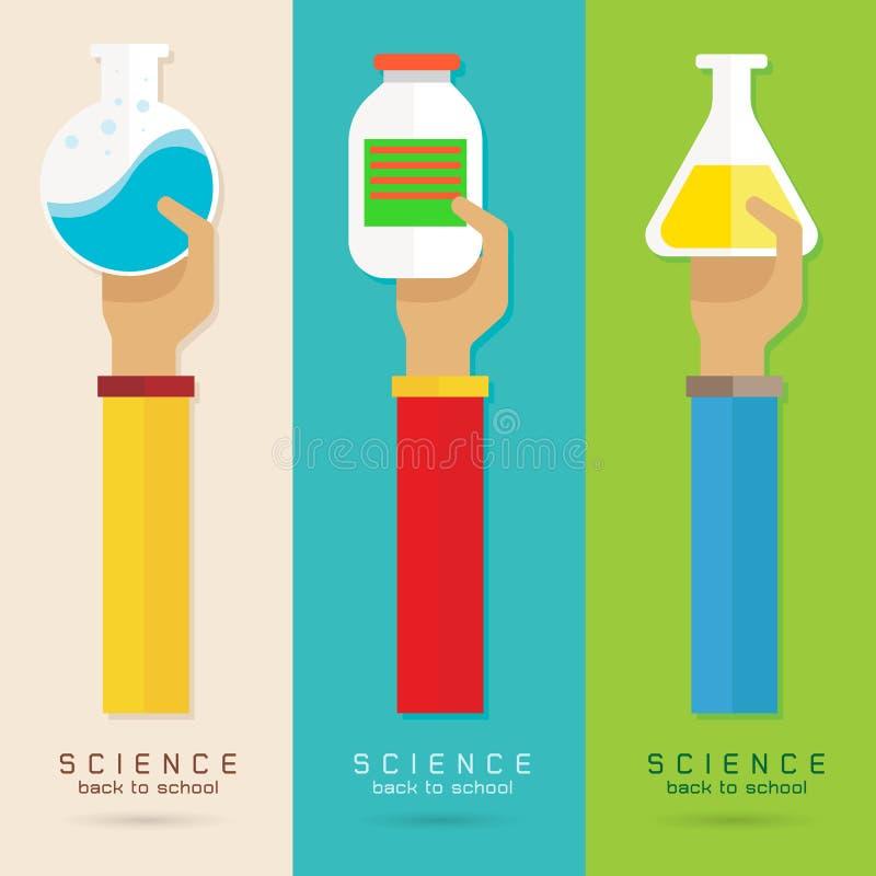 Vektorarm- och handutbildning ställde in vetenskap kemisk royaltyfri illustrationer