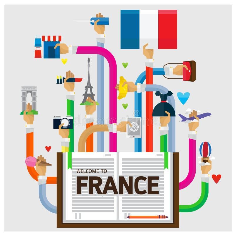 Vektorarm- och handvälkomnandet till Frankrike fabulerar royaltyfri illustrationer