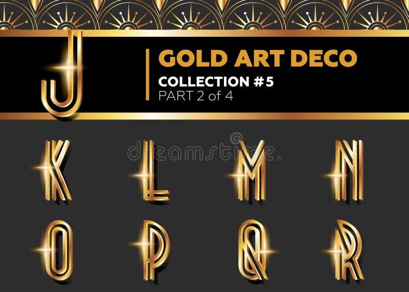 VektorArt Deco 3D stilsort Glänsande guld- Retro alfabet Gatsby vagel royaltyfri illustrationer