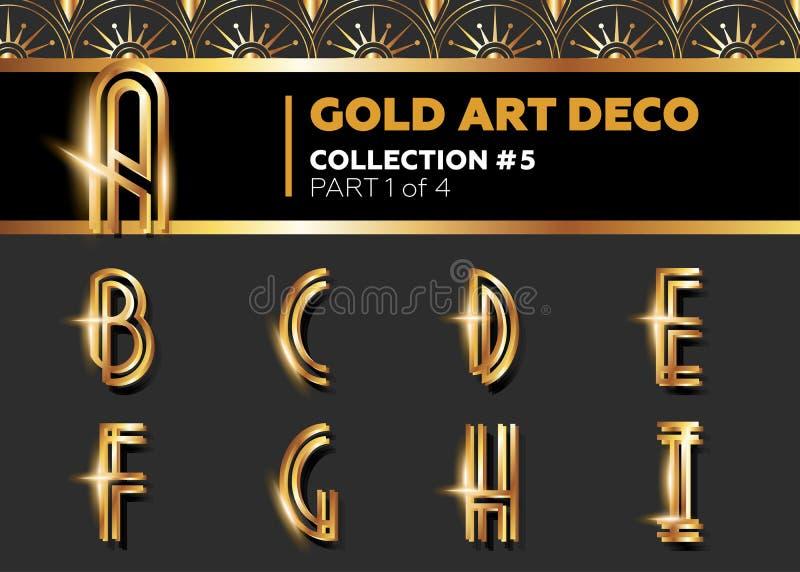 VektorArt Deco 3D stilsort Glänsande guld- Retro alfabet Gatsby vagel vektor illustrationer