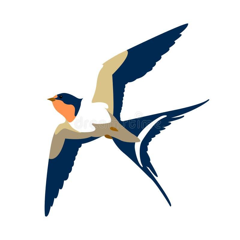 Vektorart der Schwalbe im Flug flach lizenzfreie abbildung