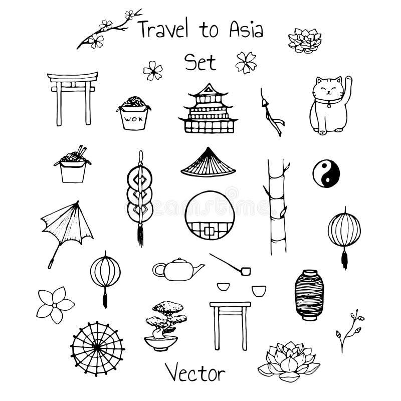 Vektorasiatuppsättning Inkluderar orientaliska beståndsdelar: paraplyer japanska lyckliga katter, mynt, lyktor, bonsai, toriiport royaltyfri illustrationer