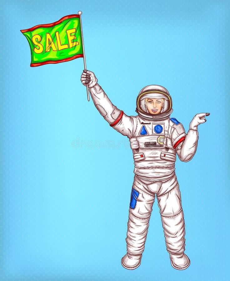 Vektorastronautflicka i spacesuit med den gröna flaggan stock illustrationer