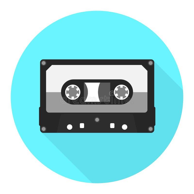 Vektoraudiokassettenikone Flache Ikone des Tonbandes stock abbildung