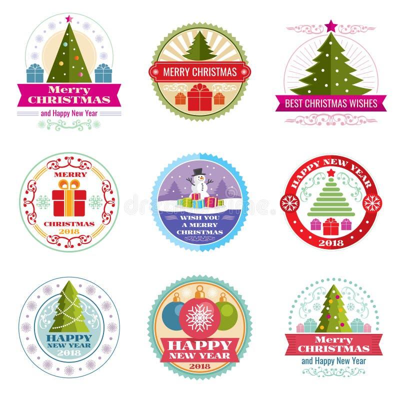 Vektoraufkleber der frohen Weihnachten Retro- Embleme und Logos des Winterurlaubs lizenzfreie abbildung