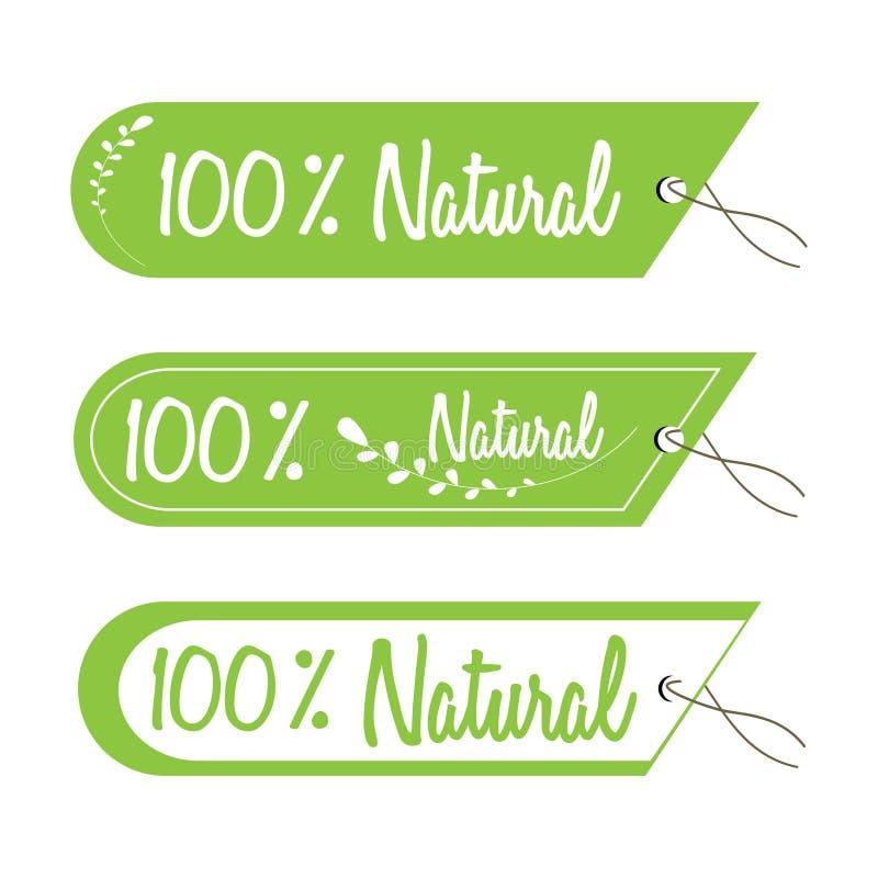Vektoraufkleber mit 100% natürlichen Umbauten stock abbildung