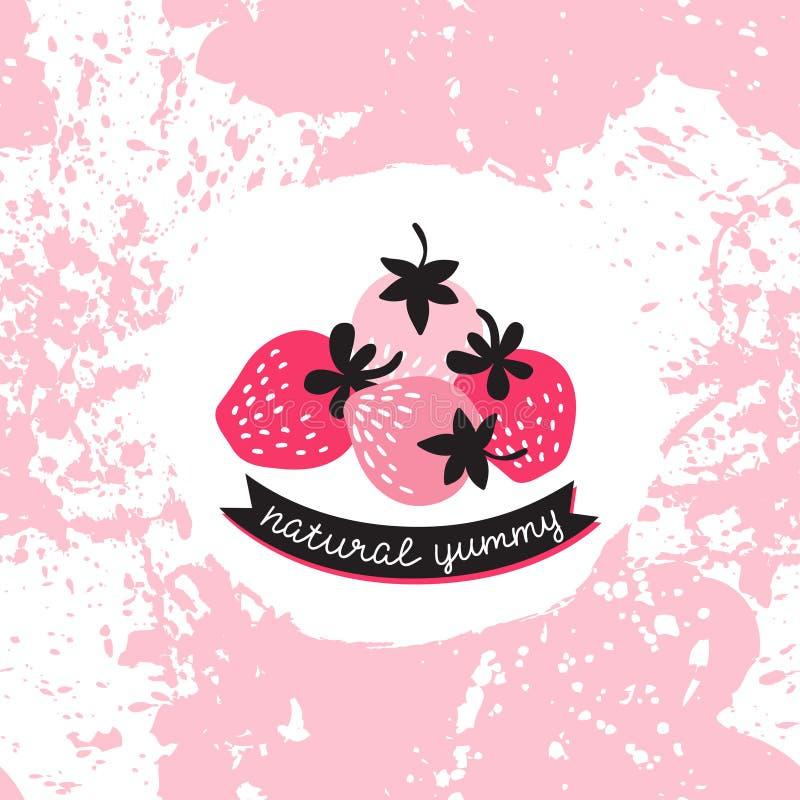 Vektoraufkleber mit rosa und roter Erdbeere auf spritzt Hintergrund vektor abbildung