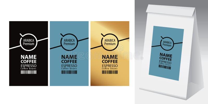 Vektoraufkleber und Papierverpackung für Kaffeebohnen lizenzfreie abbildung