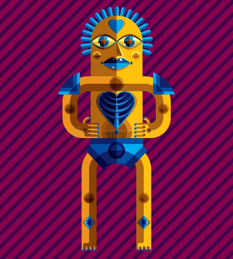 Vektoravantgardeillustration av den mytiska personen, hedniskt symbol vektor illustrationer