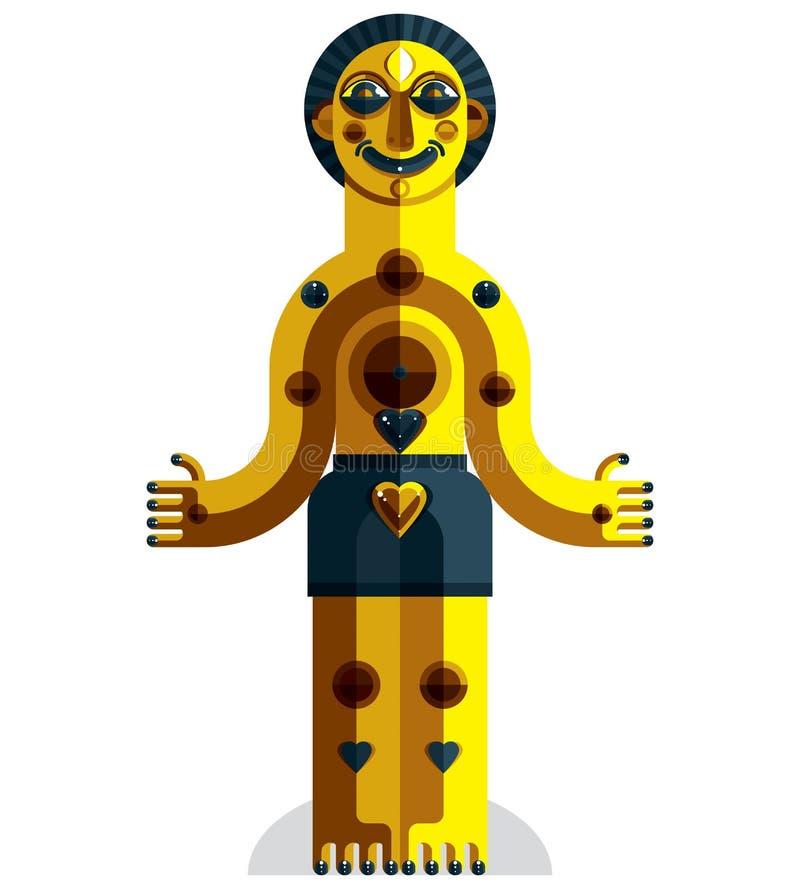 Vektoravantgardeillustration av den mytiska personen, hedniskt symbol stock illustrationer