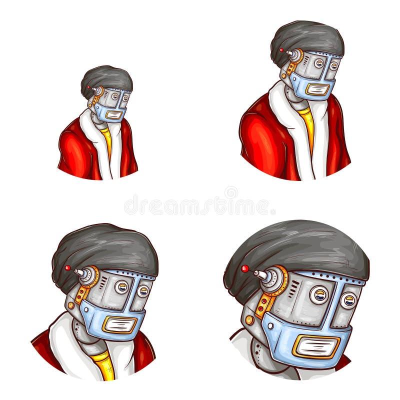Vektoravatar av roboten i juldräkt royaltyfri illustrationer