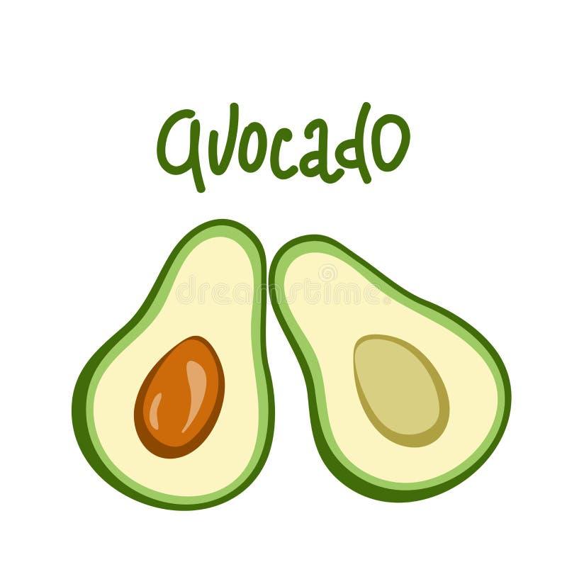 Vektoravocado-Nahrungsmittelikone Getrennt auf weißem Hintergrund Avocatofruchtganzes und -hälfte Avocadoillustration im flachen  stock abbildung