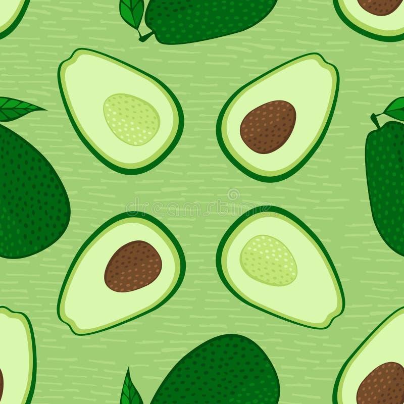 Vektoravocado-Nahrungsmittelnahtloses Muster Ganzes und Schnitt in der halben Avocado mit Grube Gesunde Nahrung Gut f?r das Verpa vektor abbildung